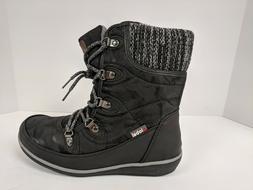 Global Win 1841 Winter Snow Boots, Black, Womens 6.5 M