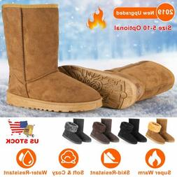 2019 Women Snow Boots Waterproof Faux Suede Mid-Calf Boots F