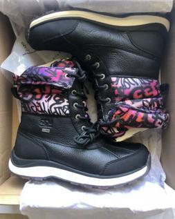 UGG Adirondack III Grafitti Black Waterproof Leather Snow Bo