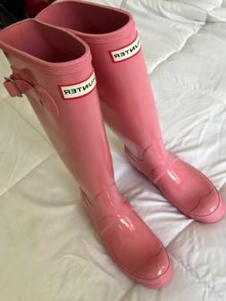 Authentic Hunter Tall Pink Gloss Rain Snow Boots US Size 6 W