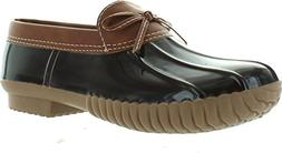 Axny Dylan-10 Women's Two Tone Bow Accents Slip-On Rain Loaf