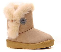 DADAWEN Girl's Boy's Bailey Button Snow Boots Beige US Size