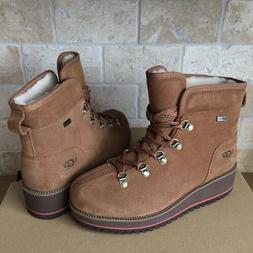 UGG Birch Waterproof Chestnut Suede Wool Wedge Snow Shoes Bo