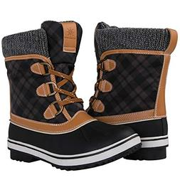 GLOBALWIN Women's Black/Camel Winter Snow Boots 9 M US