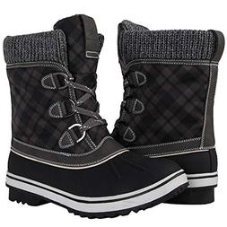 GLOBALWIN Women's Black/Grey Winter Snow Boots 8 M US