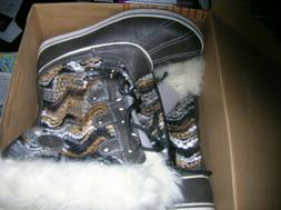 Globalwin Black/White Fur Lined Leather Snow Boots SZ US 10