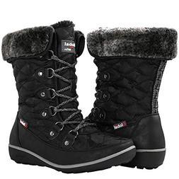GLOBALWIN Women's Black Winter Snow Boots 8M US