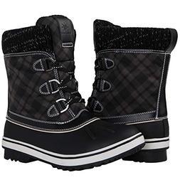 GLOBALWIN Women's Black Winter Snow Boots 9 M US