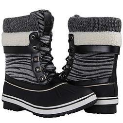 GLOBALWIN Women's Black Zebra Stripe Winter Snow Boots 8M US
