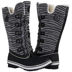 GLOBALWIN Women's Black Zebra Stripe Winter Snow Boots 7.5M