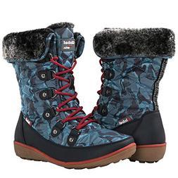 GLOBALWIN Women's Blue Winter Snow Boots 9M US