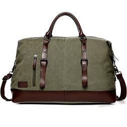 Fresion Canvas Leather Outdoor Portable Handbag Carry on Ove