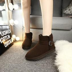 Classic Short Brown Woman Winter Snow Boots Flat Ankle Best