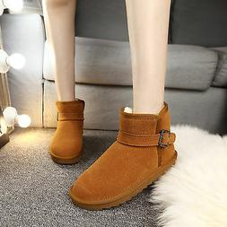Classic Short Chestnut Woman Winter Snow Boots Flat Ankle Ch