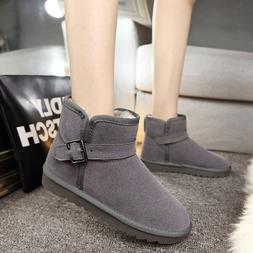 Classic Short Grey Woman Winter Snow Boots Flat Ankle Best C