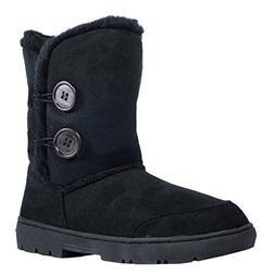 Clpp'li women snow boots Button Fully Fur Lined Waterproof W