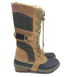 Sorel Conquest Carly Trail Brown Tall Lace Up Rubber Sole Le
