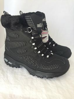 SKECHERS D'LITES Snow Plaza Black Mid Calf Winter Boots Wome