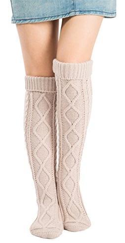 Leotruny Women's Diamond Knit Knee Winter Leg Warmers High B