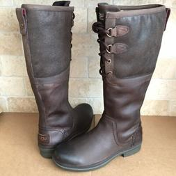 UGG ELSA TALL BROWN BOMBER LEATHER WATERPROOF RAIN SNOW BOOT