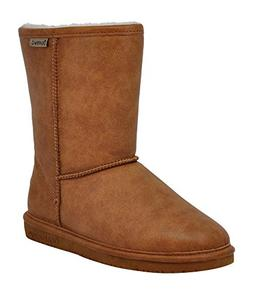 BEARPAW Women's Emma Short Winter Boot, Tan Smooth, 9.5 M US