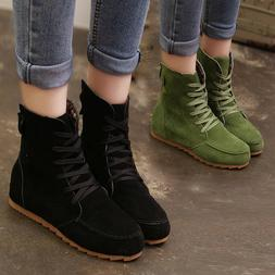 Fashion Women Flat Ankle Snow Motorcycle Boots Female Suede