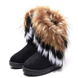 Fashion Women's Fluffy Fur Boot Winter Warm Ankle Snow Boots