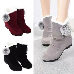 Fashion Women's Winter Warm Faux Suede Fur Lace-up Ankle Boo