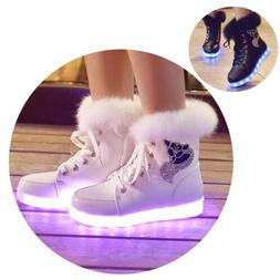 Fashion Women's Winter Warm Fur Leather Ankle Snow Boots LED