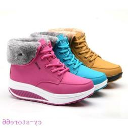 Fashion Womens Winter Sneakers Boots Plush Fur Cuff Platform