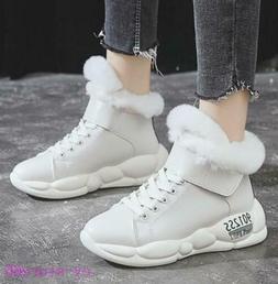 Fashion Womens Winter Sneakers Boots Plush Fur Trim Platform