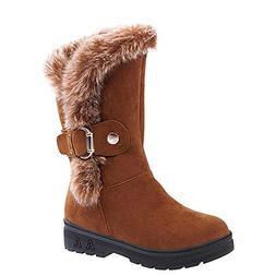 Fur Booties for Women, Sunyastor Women Boots Slip-On Soft Sn