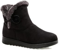 Fur Lined Womens Snow Boots Black Winter Button Pull On Ankl