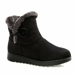 Fur Lined Womens Snow Boots Winter Button Pull on Ankle Boot