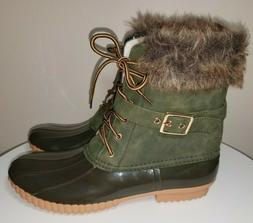 Nature Breeze Fur Trim DUCK Winter Snow BOOTS - Olive Green