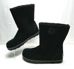 Sorel Glacy Black Suede Boots Size 9.5 Fleece Lining Rubber