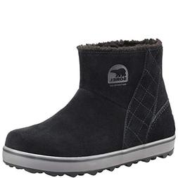 SOREL Womens Glacy Short Winter Waterproof Snow Black Suede