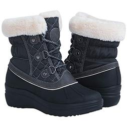 Globalwin Women's 1823 Grey Wedge Snow Boots 8.5M