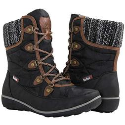 GLOBALWIN Women's 1841 Black/Brown Winter Snow Boots 8M
