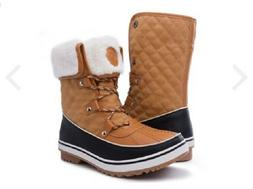 GLOBALWIN Women's 1632 Black Grey Snow Boots 8 US Women, Tan