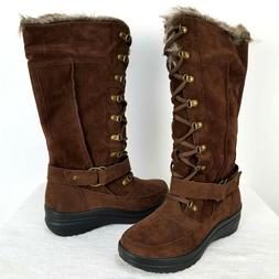 Globalwin Women's Rylee Fashion Snow Boots Lace up brown Mis