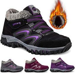gracosy Women's Hiking Shoes, High Top Sneaker Winter Warm H