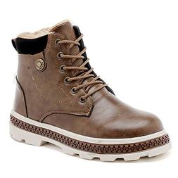 Hilotu Men's Fashion Winter Boots Casual Waterproof Faux Fle