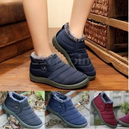 Women's Winter Warm Shoes Fabric Fur-lined Slip On Ankle Sno