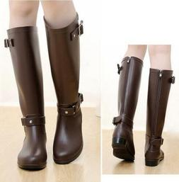 HOT Womens Knee High Riding Boots Rain Waterproof Non-Slip Z
