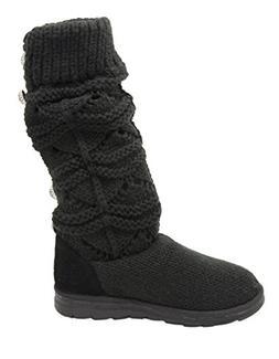 MUK LUKS Women's Jamie Crochette Winter Boot  US, Black)