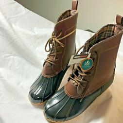 SPORTO Jessica Women Snow Duck Boots Brown Leather Size 10 S