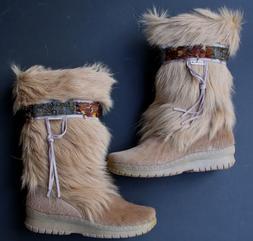 Bearpaw Kola Women's Goat Fur Sheepskin Exotic Snow Boots Si