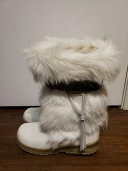 Bearpaw Kola Women's Goat Fur Sheepskin Exotic White Snow Bo