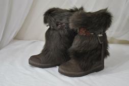 Bearpaw Kola Women's sz 7 Goat Fur Sheepskin Exotic Wild Bro